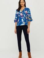 Monsoon Fleur Print Organic Cotton Linen Blouse - Blue
