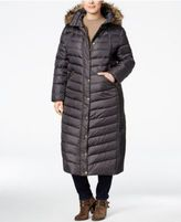 MICHAEL Michael Kors Size Faux-Fur-Trim Maxi Puffer Coat