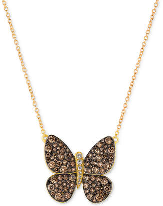 LeVian Le Vian Chocolatier Diamond Butterfly Pendant Necklace (1-7/8 ct. t.w.) in 14k Rose Gold or Yellow Gold.