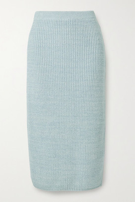 Adam Lippes Ribbed Wool, Silk And Cashmere-blend Midi Skirt - Sky blue