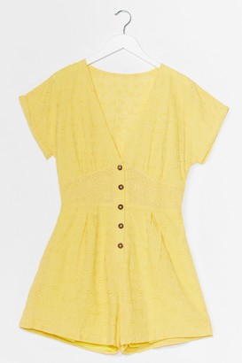 Nasty Gal Womens Hole-d Up Broderie Button-Down Romper - Yellow