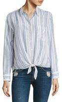 Equipment Daddy Striped Tie-Front Silk Shirt