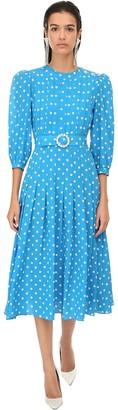 Alessandra Rich Polka Dots Silk Crepe Midi Dress