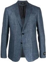 Ermenegildo Zegna Canvas Textured Single Breasted Suit Jacket