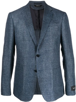 Ermenegildo Zegna Canvas Textured Single Breasted Suit Jacket
