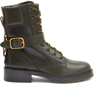 Chloé Diane Buckled Leather Boots - Green
