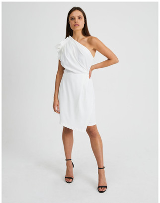 Wayne Cooper One Shoulder Ruffle Dress in White