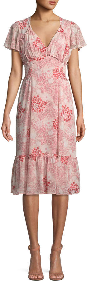 Max Studio High-Low Ruffled Floral Dress