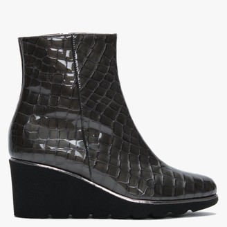 Brunate 1J Grey Patent Leather Moc Croc Wedge Ankle Boots