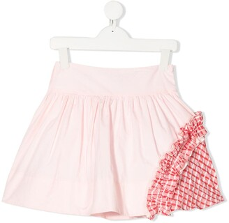 Simonetta Patchwork Flared Mini Skirt