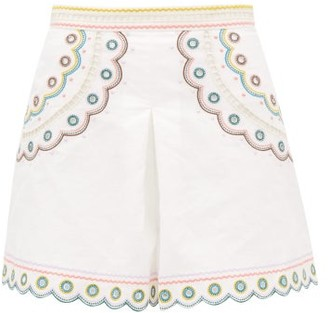 Zimmermann Peggy High-waisted Embroidered Linen Shorts - Cream Print
