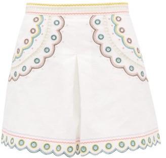 Zimmermann Peggy High-waisted Embroidered Linen Shorts - Womens - Cream Print