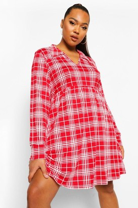 boohoo Plus Check Collar Smock Dress