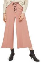 Topshop Lace-Up Crop Wide Leg Pants