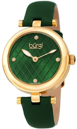 Burgi Ladies Diamond Patterned Barbell Green Leather Strap Watch