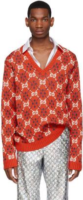 Gucci Orange GG V-Neck Sweater