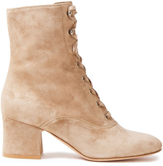 Gianvito Rossi Mackay Lace-up Suede Ankle Boots