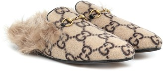 Gucci Princetown fur-lined wool-blend slippers