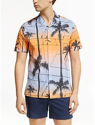 J. Lindeberg Palm Print Shirt, Cool Peach