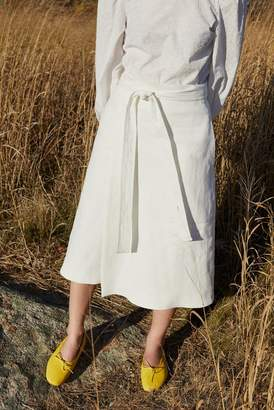 Mansur Gavriel Stretch Linen Wrap Skirt - White
