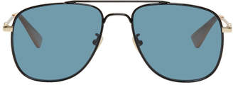 Gucci Black and Blue Square Aviator Sunglasses