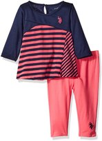 U.S. Polo Assn. Girls' Long Sleeve Cut and Sew Handkerchief Top and Capri Legging