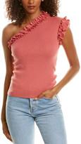 La Vie Rebecca Taylor One-Shoulder Ruffle Wool-Blend Top