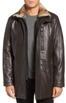 Andrew Marc Middlebury Genuine Rabbit Fur Trim Leather Car Coat with Removable Bib