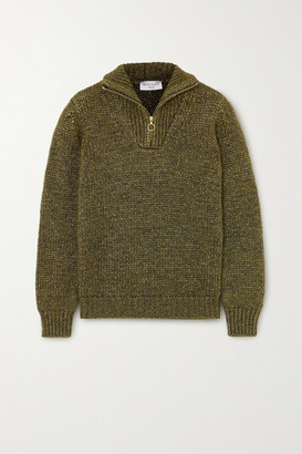 Officine Generale Axelle Metallic Knitted Sweater - Army green