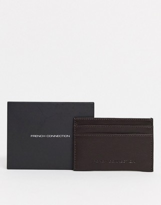 French Connection Classic leather card holder in brown
