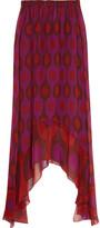 Diane von Furstenberg Louella Printed Silk-chiffon Midi Skirt - Purple