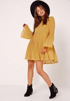 Missguided Long Sleeve Pleated Swing Dress Mustard