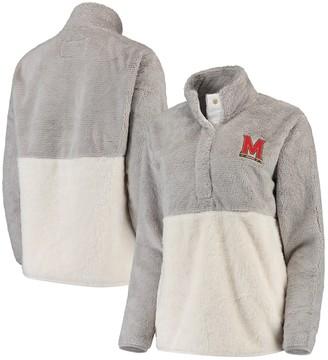 Women's Gray/Cream Maryland Terrapins Fuzzy Fleece Colorblocked Four-Snap Pullover Jacket