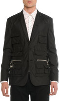 Givenchy Utility-Pocket Nylon Blazer, Black