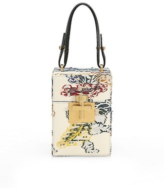 Oscar de la Renta Alibi Floral Top Handle Box Bag