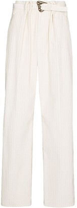 By Any Other Name Belted-Waist Corduroy Flared Trousers