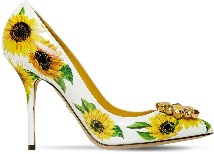 8b5e809fd49 90mm Embellished Sunflower Leather Pumps