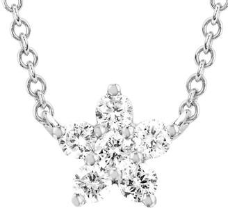 Ef Collection 14K 0.14 Ct. Tw. Diamond Flower Choker Necklace