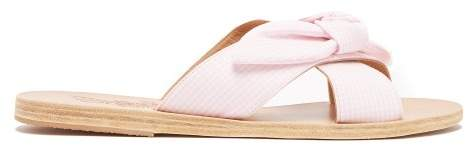 Ancient Greek Sandals Thais Bow Gingham Strap Sandals - Womens - Pink White