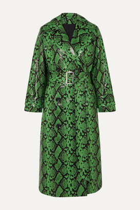 Stand Studio + Pernille Teisbaek Shelby Snake-effect Faux Leather Trench Coat