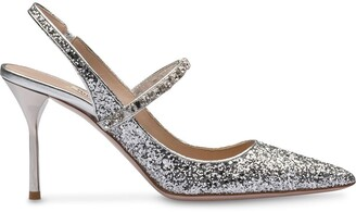 Miu Miu Crystal-Embellished Glitter Pumps