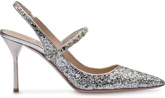 Miu Miu crystal-embellished glitter pumps