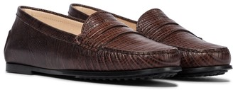 Tod's City Gommino snake-effect leather loafers