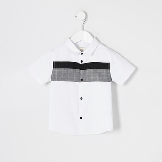 River Island Mini boys white check blocked poplin shirt
