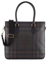 Burberry Kenneth Men's Check Tote Bag, Chocolate/Black