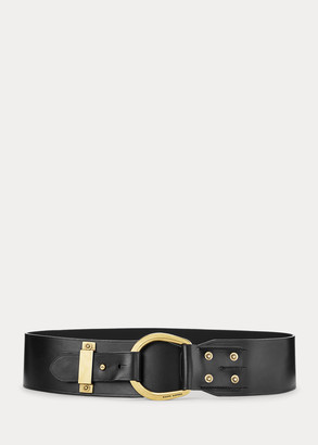 Ralph Lauren Horseshoe-Ring Leather Belt