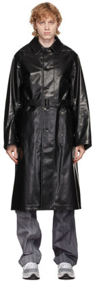 AURALEE Reversible Black and Grey Wool and Cashmere Laminate Coat