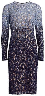 Pamella Roland Ombre Crystal Cocktail Dress