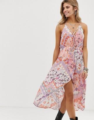 En Creme floral and tile print hi-low dress-Multi