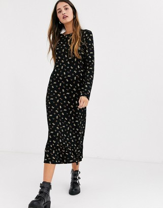 Daisy Street midaxi smock dress in ditsy floral-Black